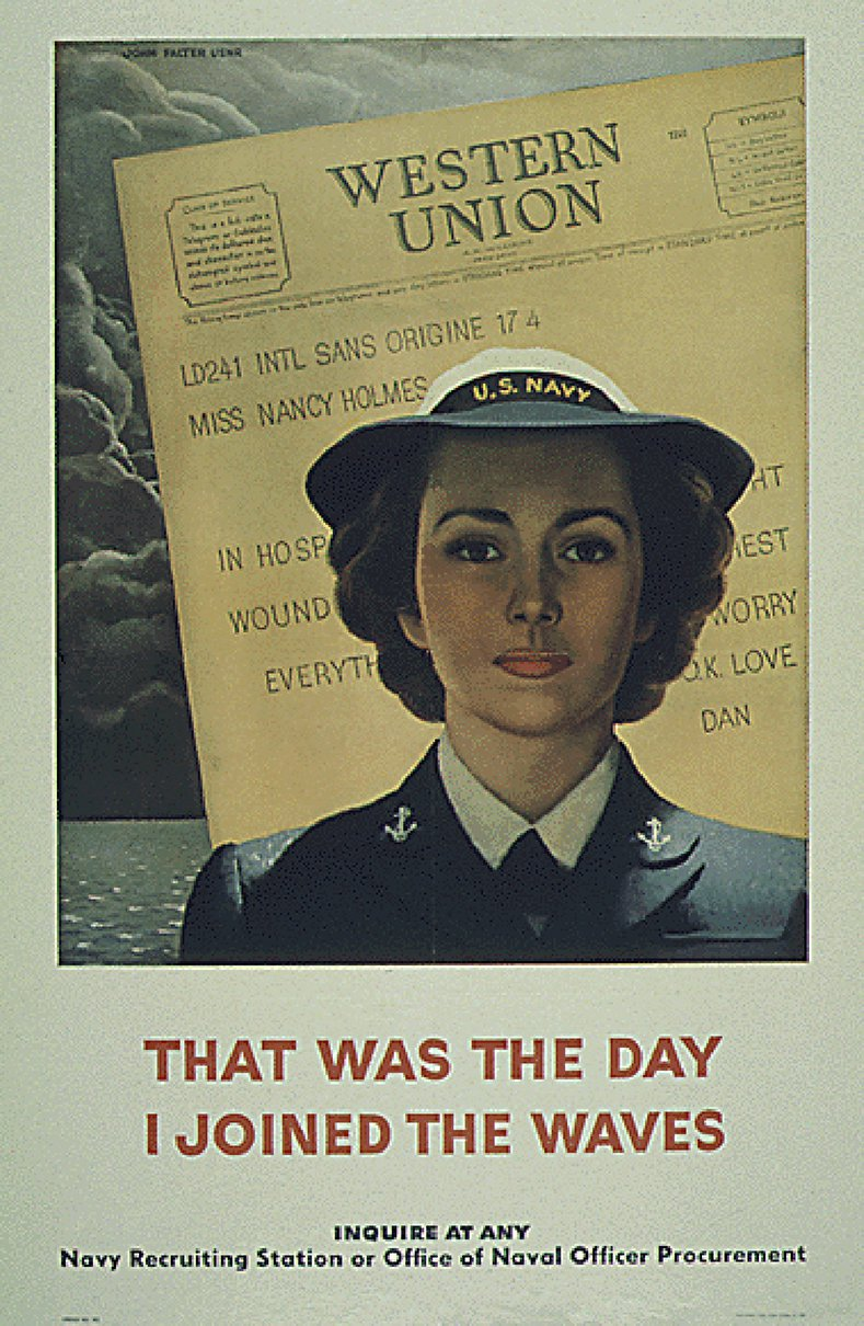Image Description. An image of an enlistment poster for the WAVES shows a woman in uniform and says, that was the day I joined the WAVES.