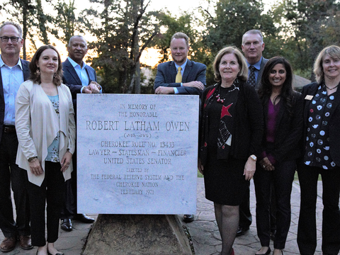 Image of Board and Esther around Robert L Owen tribute.png