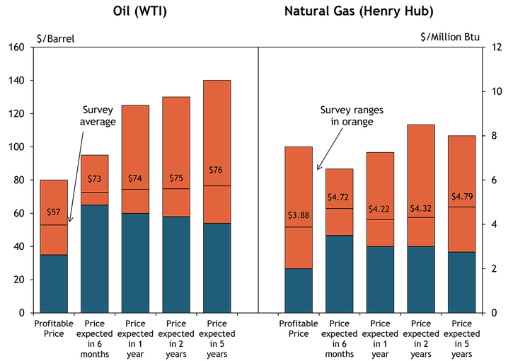 Firms were asked what oil and natural gas prices were needed for drilling to remain profitable on average across the fields in which they are active. The average oil price needed was $57 per barrel, with a range of $40 to $80. The average natural gas price needed was $3.88 per million Btu, with responses ranging from $2 to $7.50.