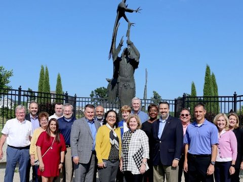 Image of Esther George - Honoring-The-Clans Sculpture Garden with Omaha Board July 2021