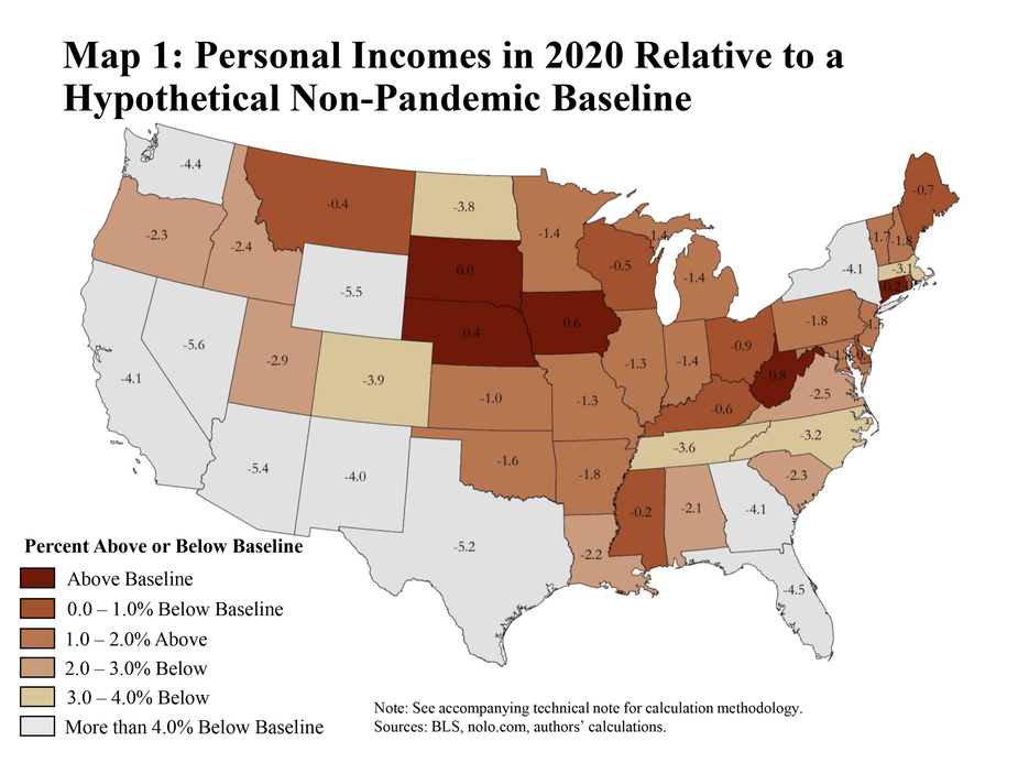7.Map 1: Personal incomes in 2020 relative to a hypothetical non-pandemic baseline is a map of the lower 48 states of the United States. Each state has a value showing total 2020 income as a percentage relative to the non-pandemic baseline. The accompanying technical note has additional details pertaining to the calculation methodology. The sources are the BLS, nolo.com, and the authors' calculations.