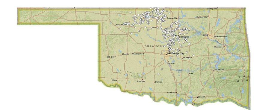 Map of Oklahoma Earthquakes, Greater than Magnitude 3.0, 2015