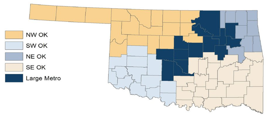 Map 1. Oklahoma Labor Force and Unemployment Rate by Region, July 2017