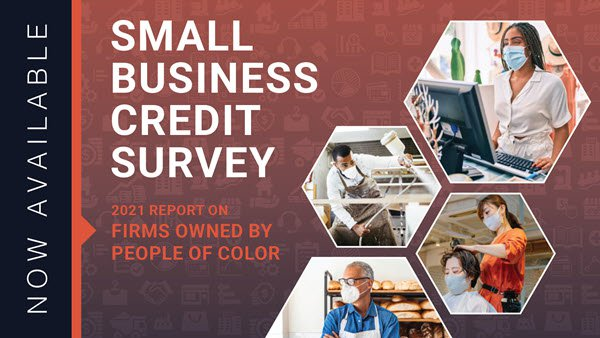 Small Business Credit Survey cover art showing employees working at different businesses