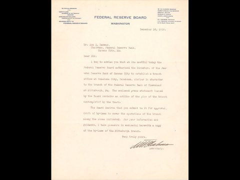 Image of Federal Reserve Board Letter