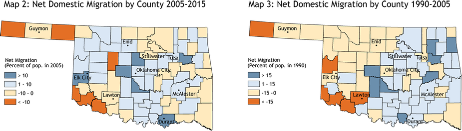 Map 2: Net Domestic Migration by County 2005-2015 and Map 3: Net Domestic Migration by County 1990-2005