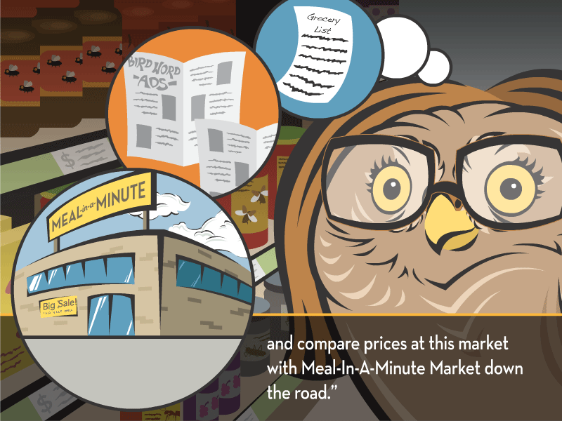 """and compare prices at this market with Meal-In-A-Minute Market down the road."""""""