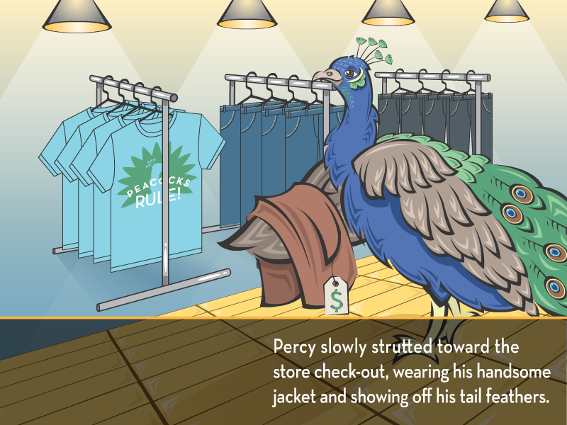 Percy slowly strutted toward the store check-out, wearing his handsome jacket and showing off his tail feathers.