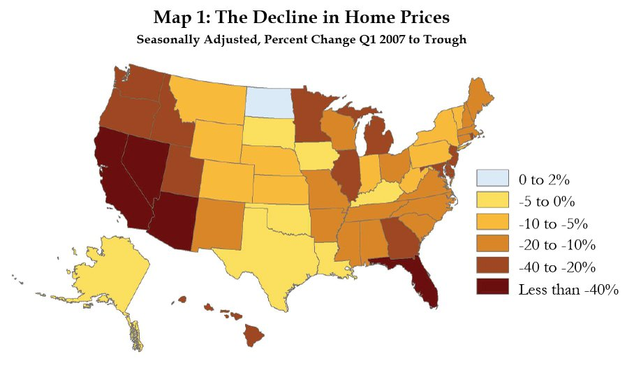 Map 1: The Decline in Home Prices Seasonally Adjusted, Percent Change Q1 2007 to Trough