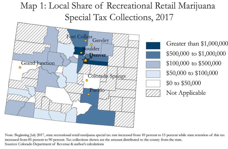 Map 1: Local Share of Recreational Retail Marijuana Special Tax Collections, 2017